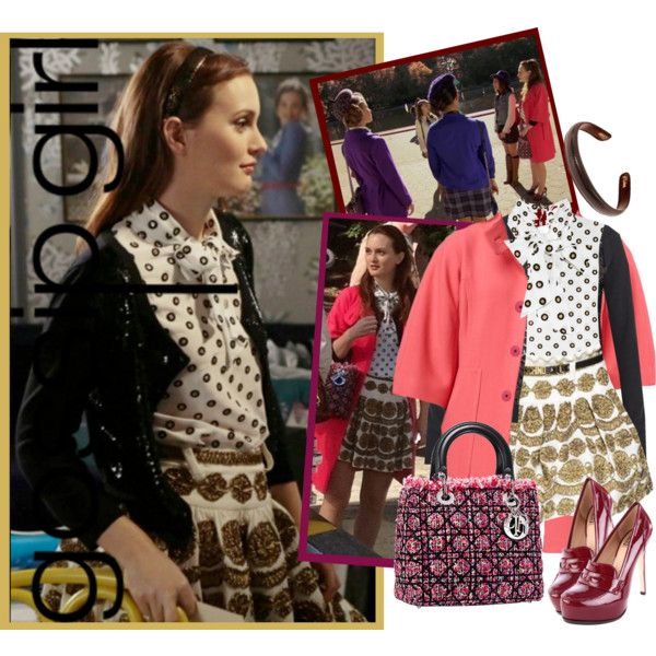 "6x7 ""Save the Last Chance"" ~ Blair wearing Christian Dior Fall 2011 Lady Dior Tweed Bag - Milly Irena Belted Coat - MOSCHINO Polka-dot silk-crepe blouse - Moschino Fall 2012 Gold Thread Embroidered Mini Skirt - Diane Von Furstenberg Maryse Sequinned Wool Cardigan - Pour La Victoire Women's Larkin Loafer Pump - L. Erickson 1/2"" Lizard Leather Headband Saddle"