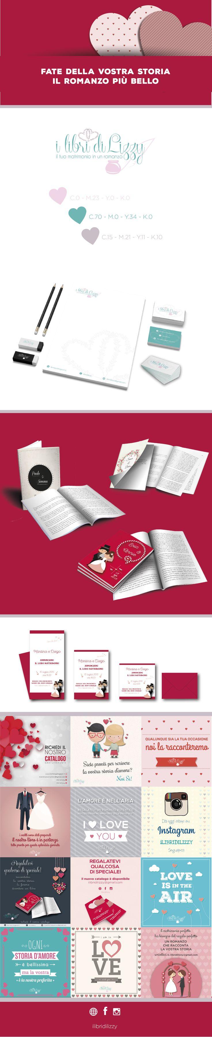 ilibridiLizzy è un servizio per gli sposi che prevede l'elaborazione di un romanzo che racconta la storia d'amore dei protagonisti.   Creazione grafica della copertina del libro romanzo/libro bomboniera con impaginazione del testo/immagini.  Creazione della grafica per partecipazioni coordinate,  per brochure pubblicitarie, per catalogo prodotti e comunicazione social (facebook - instagram)
