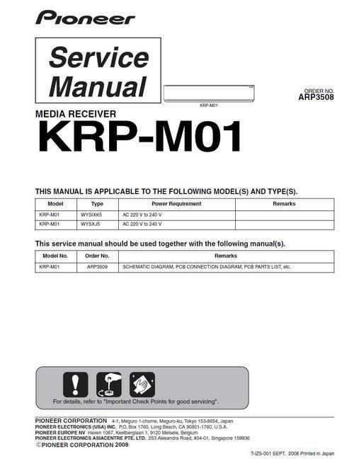 Pioneer KRP-M01 , Media Receiver for Kuro Plasma TV KRP-500P , Original Service Manual  100 DOWNLOAD