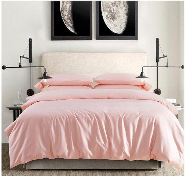 100 egyptian cotton light pink bedding set sheets king queen size quilt duvet cover