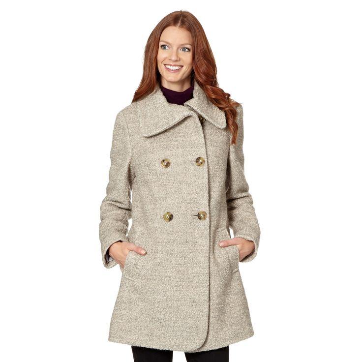 The Collection Natural split neck boucle coat- at Debenhams.com
