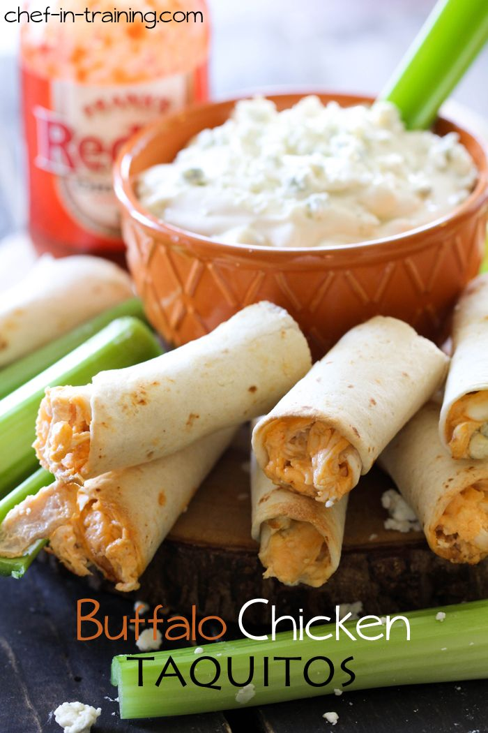 Buffalo Chicken Taquitos... my family can't get enough of these! They are SO delicious!