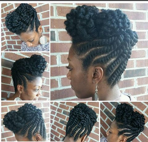 Flat Twist And Two Strand Twist Updo Perfection IG:(styled by)@saba_reena at IG:@divineoasissalon #naturalhairmag