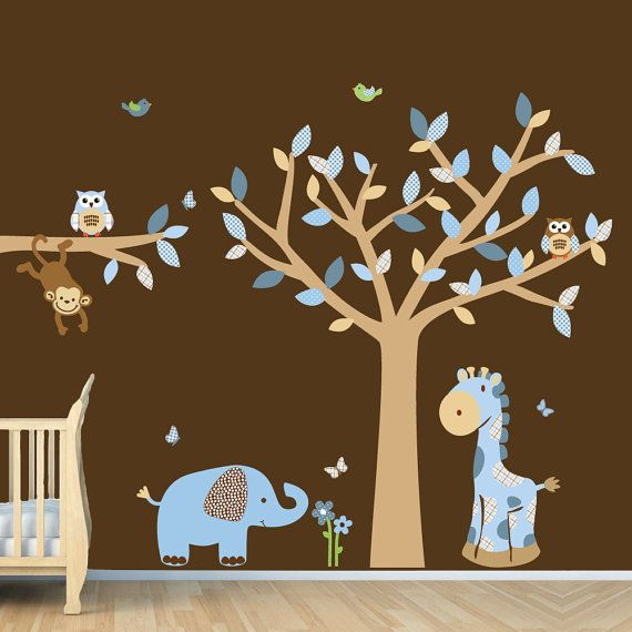 Blue Brown Boys Room Jungle Wall Decal Monkey Decal