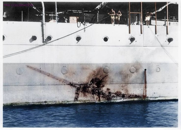 """On 26 July 1945, her Task Force was attacked by two bombers acting as ""Kamikaze"" suicide weapons. One made an imprint on the side of the HMS Sussex, from which it could be identified as a Mitsubishi Ki-51 ""Sonia""."""