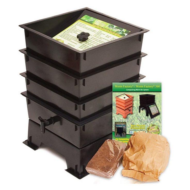 3tray worm composting bin black plastic compost tea spigot