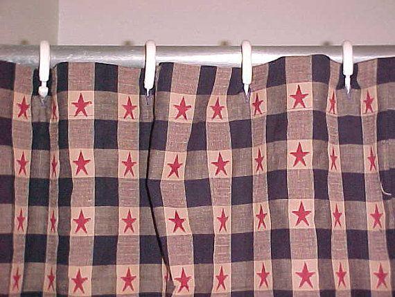 Navy Blue Old Glory Homespun Shower Curtain Rustic
