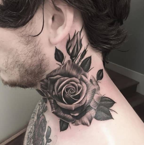 Rose neck Tattoo 3D flower  - http://tattootodesign.com/rose-neck-tattoo-3d-flower/  |  #Tattoo, #Tattooed, #Tattoos