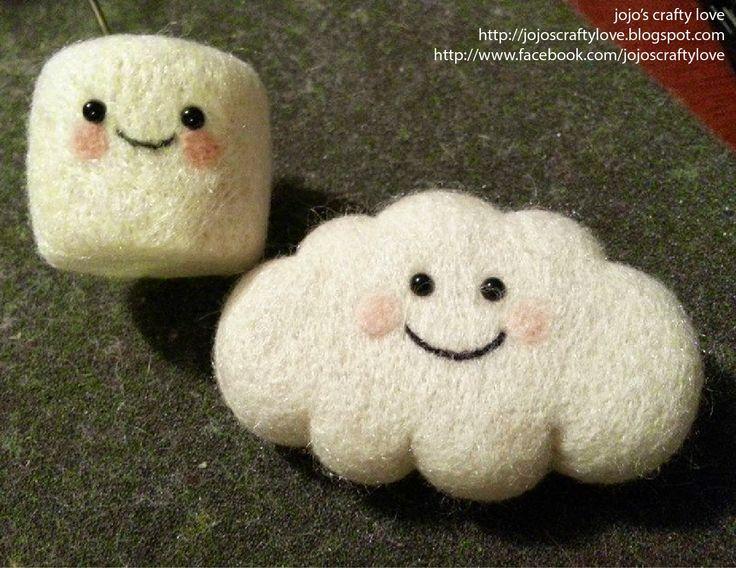 jojo's crafty love: Needle Felted Kawaii Marshmallows: Mr and Mrs Kawaii Marshmallow