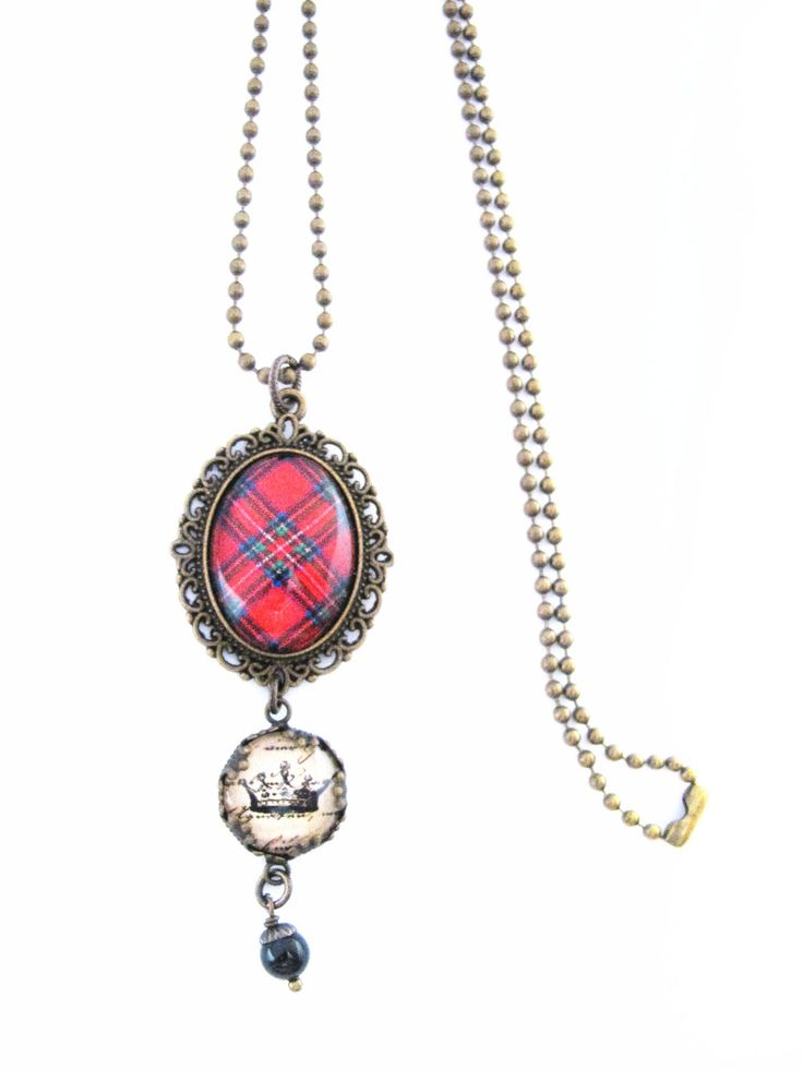 Scottish Tartan Jewelry - Ancient Romance Series - Royal Stewart Tartan Necklace w/Royal Crown Charm & Mystic Black Swarovski Crystal Charm by DivaDesignsInc on Etsy