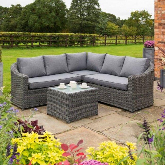 Rowlinson Bunbury Rattan Corner Garden Sofa Set Grey In 2020 Rattan Corner Sofa Corner Sofa Set Garden Sofa Set