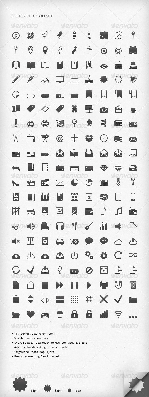 Slick Glyph Icon Set — Photoshop PSD #business icons #music icons • Available here → https://graphicriver.net/item/slick-glyph-icon-set/3037965?ref=pxcr