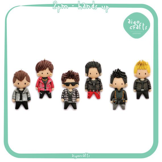 Kpop Polymer Clay 2PM Hands Up Cell Phone Charm  by AigoCrafts