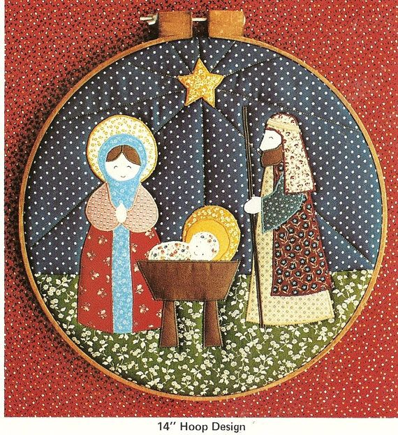 My cousin made this same patter for me long ago - hang it every Christmas. Christmas Nativity Quilted HoopWall Hanging by PatternPriority