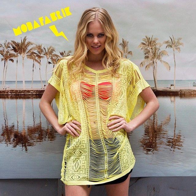 #Modafabrik haftanın bu en güzel anında size İyi Haftasonu tatilleri diler#plajelbisesi #sarıbiritli #sarı #enerjik #yaz #yazlık #tatil #deniz #güneş #kum