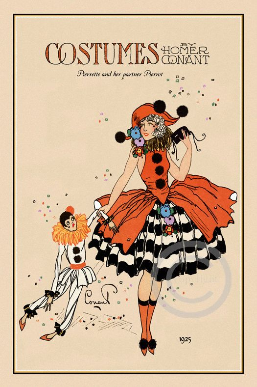 Very Art Deco Whimsical Rare Homer Conant Beauty Costume Pierrette and her partner Pierrot Boudoir Bed Doll Giclee Fine Art Print 13x19 1922