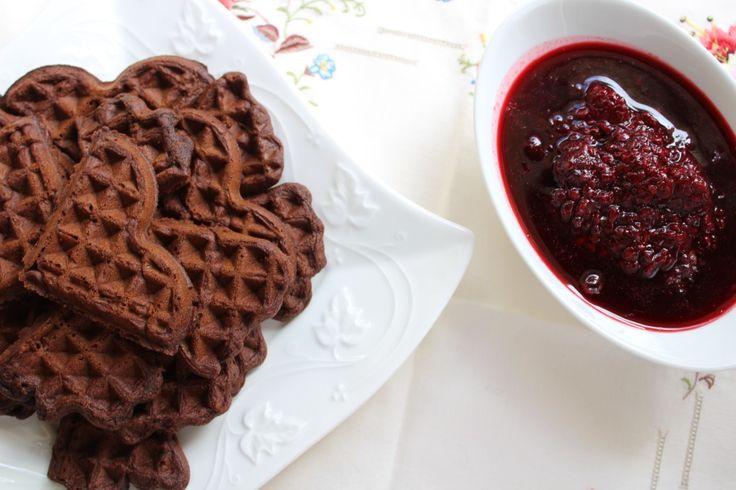 Gluten Free Chocolate Waffles with Blackberry Coulis | Wonderland Eats