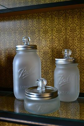 mason jar bathroom set. omg this would be so easy to do...and you could put qtips or cotton balls in them...powder :p