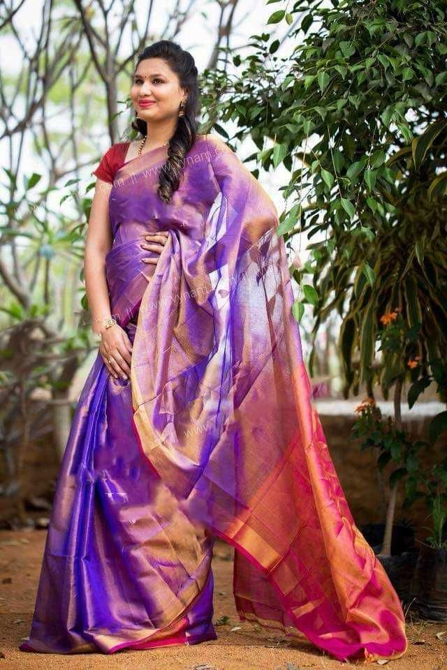 df1a68d01cb4f Uppada Violet Pink Combination Tissue Silk Saree at ₹3360. (PID  100946)  Material Pure Silk And Tissue Mix  Blouse  Yes (Plain Violet )  Saree  Length 6.3 ...