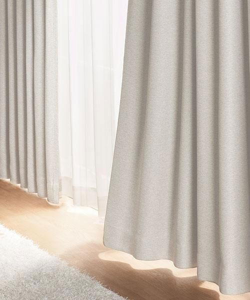 遮光1級・遮熱・防炎カーテン(ノーブル2 ベージュ 100X110X2)