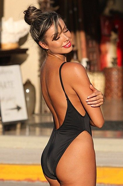 Chic black one piece swimsuit with high cut legs.