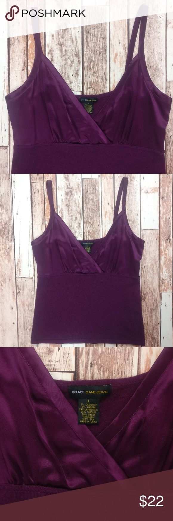 """Grace Dane Lewis Cashmere & Silk Blend Tank Top Grace Dane Lewis  Beautiful purple tank tank. Gently used, good condition.  Size women's L. 8% cashmere/ 8% angora/ 29% lambswool/ 35% viscose/ 20% nylon. Trimming 100% silk.  Approx. measurements lying flat & unstretched: Chest across (armpit to armpit): 17.5"""" Length (top of shoulder to bottom): 24.5"""" Bundle for private offer.  Bundle 2+ items for at least 20% off! Grace Dane Lewis Tops Tank Tops"""