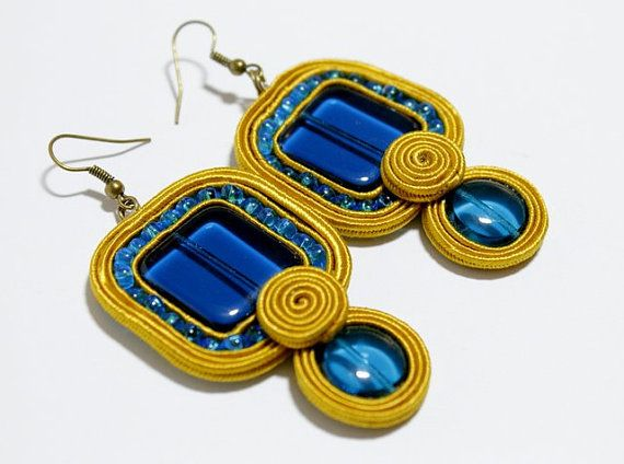 Soutache Jewelry Soutache Earrings Mustard Yellow and by Herinia, $35.00