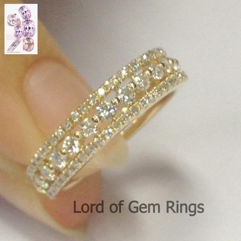 Brilliant Diamond Wedding Band Full Eternity Anniversary Ring 14k Yellow Gold – …