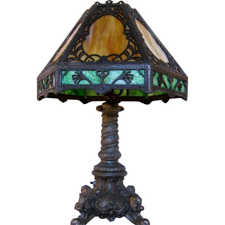 78 Images About Antique Slag Glass Lamps On Pinterest
