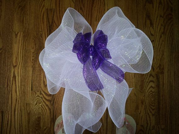 Wedding Pew Bow White And Purple Deco Mesh Or By