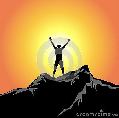 Orange sky, yellow sunset, man silhouette with hands up in the air, on top of the cliff,on top of the word. Symbol for freedom and success.