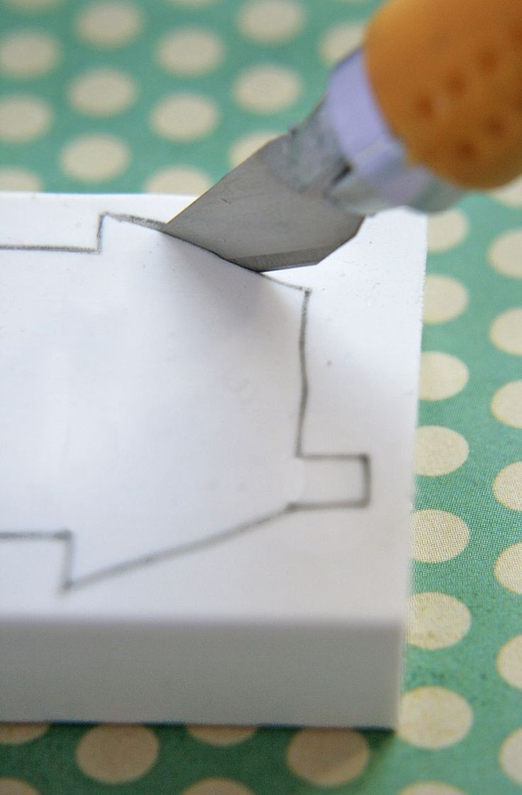 DIY rubber stamp: take a large flat eraser, draw your design, and trim with an exacto.