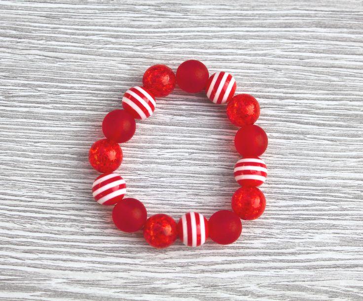 Teesh Sparkle and Stripes Bracelet Red