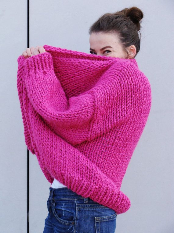 Pure Chunky Cardigan - Hot Pink - handmade oversize cardigan, chunky knit, loose fit, open style sweater