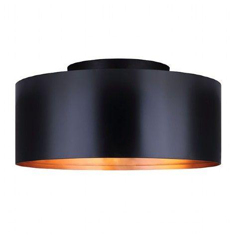 Luminaire plafonnier noir avec intérieur laiton cuivré.
