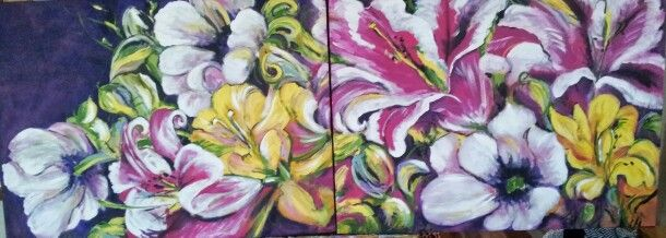 Mom's Flowers  30x80  acrylic