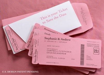 pink ticket save the dates