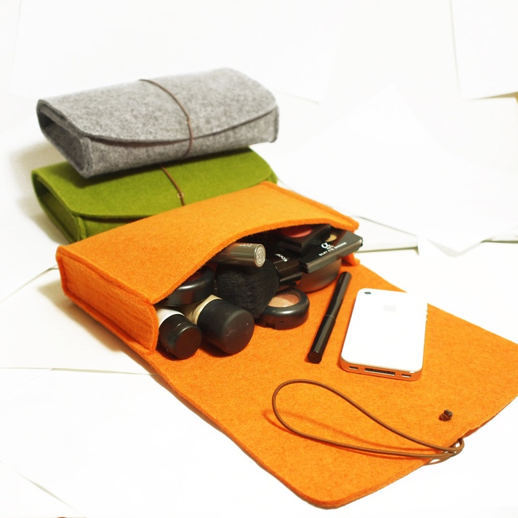 Case Pouch, Hand Bag, Cosmetic Bag,Felt Bag-Grey Green Orange-D409