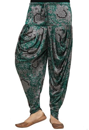 Grey and Green Lycra Readymade Dhoti Pant