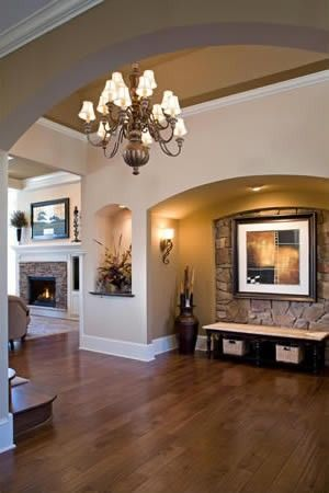 Love this wall paint color...and the stone detail in the nook.