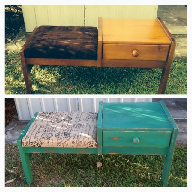 This old phone table was a $30 Gumtree find. I reupholstered it, pulling off the felt and putting some heshian down, then painted it with some leftover green paint I had, then sanded it back to give it the shabby look.
