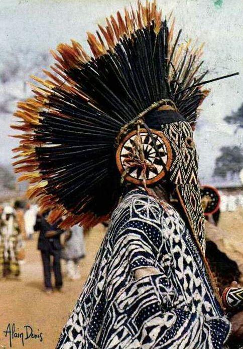 "Africa | ""Bamileke Folklore.  Bana, Cameroon"" | ©Alain Denis || Scanned postcard image. // juju hat"