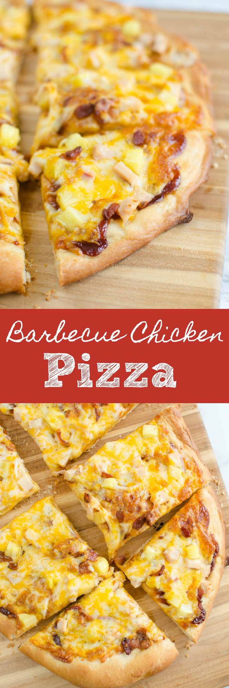 Barbecue Chicken Pizza - a delicious recipe for pizza night! Barbecue sauce, chicken, bacon, pineapple, and red onion layered with colby jack cheese!
