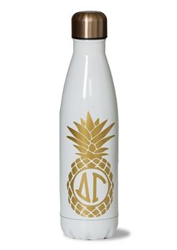 Delta Gamma Pineapple Water Bottle. www.sassysorority.com. #deegee #dg #pineapple #monogram #sorority #sororityletters #drinkware #bidday #sassysorority #waterbottle #greeklife