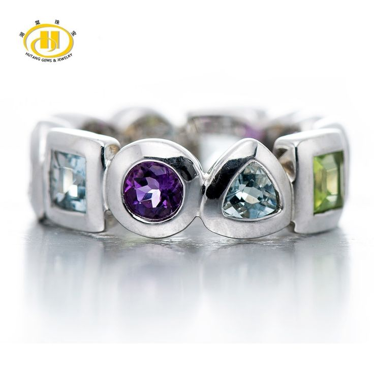 HUTANG Punk Multicolor Gemstone Jewelry Geometric Rings for Women 925 Sterling Silver Ring Fine Jewelry Cocktail Anel Feminino