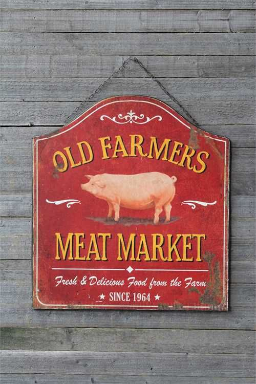 Old Farmer Meat Market Metal Sign Vintage Style Butcher