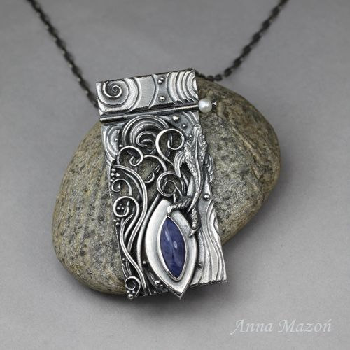 """Flow"" - Hand formed silver, sodalite and a pearl."