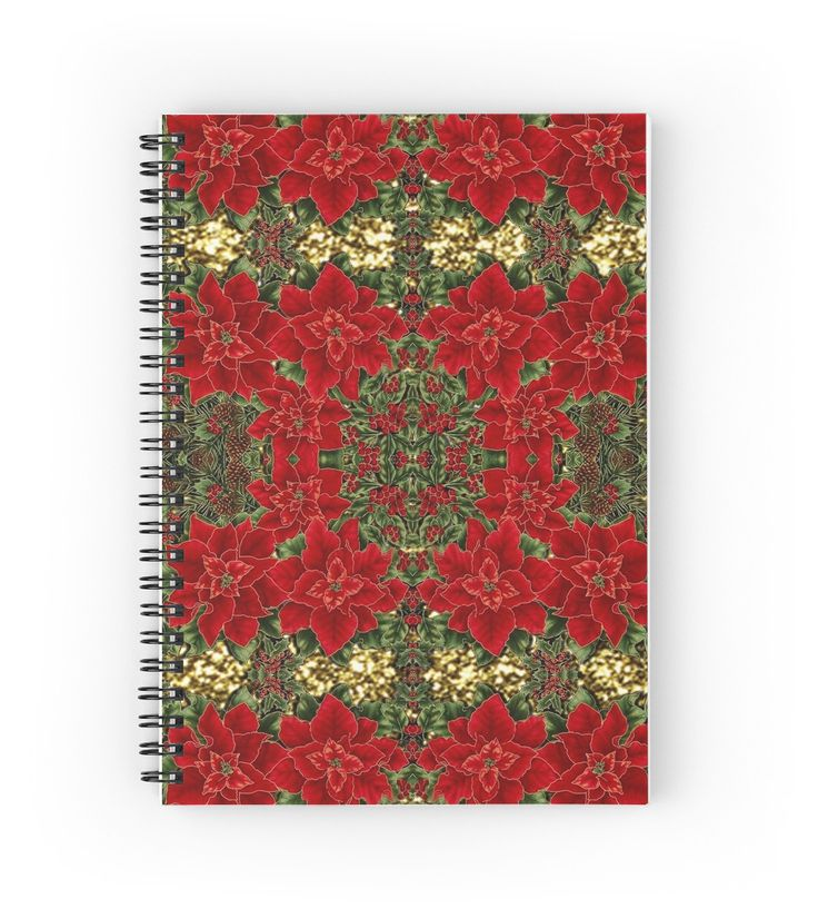 Red & Gold Poinsettia Pattern   Hardcover journals also available in ruled line, graph, or blank.