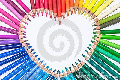 Szív készült színes ceruzák Jogdíjmentes Stock Fotók