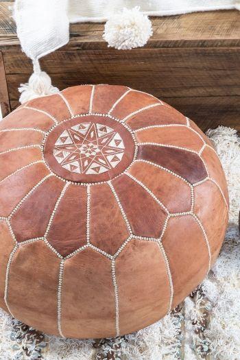 Hendrix & Harlow Round Moroccan Pouffe Deep Tan